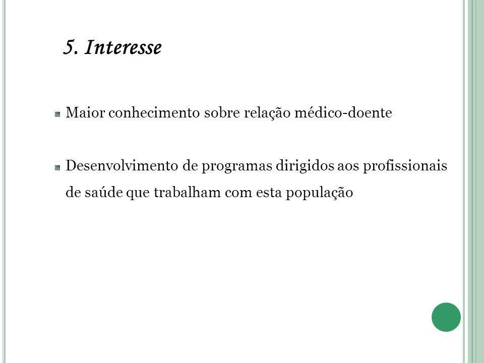 5. Interesse Maior conhecimento sobre relação médico-doente Desenvolvimento de programas dirigidos aos profissionais de saúde que trabalham com esta p