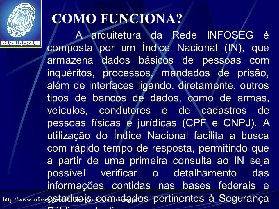 A arquitetura da Rede INFOSEG é composta por um Índice Nacional (IN), que armazena dados básicos de pessoas com inquéritos, processos, mandados de prisão, além de interfaces ligando, diretamente, outros tipos de bancos de dados, como de armas, veículos, condutores e de cadastros de pessoas físicas e jurídicas (CPF e CNPJ).
