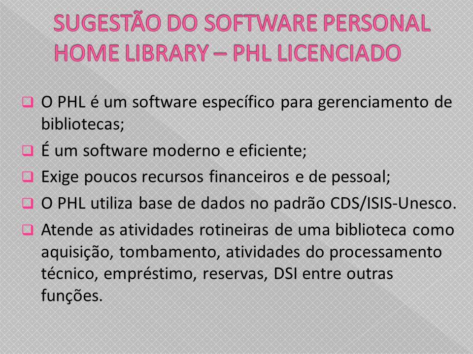 O PHL é um software específico para gerenciamento de bibliotecas; É um software moderno e eficiente; Exige poucos recursos financeiros e de pessoal; O PHL utiliza base de dados no padrão CDS/ISIS-Unesco.