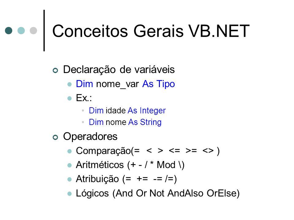 Conceitos Gerais VB.NET Declaração de variáveis Dim nome_var As Tipo Ex.: Dim idade As Integer Dim nome As String Operadores Comparação(= = <> ) Aritméticos (+ - / * Mod \) Atribuição (= += -= /=) Lógicos (And Or Not AndAlso OrElse)