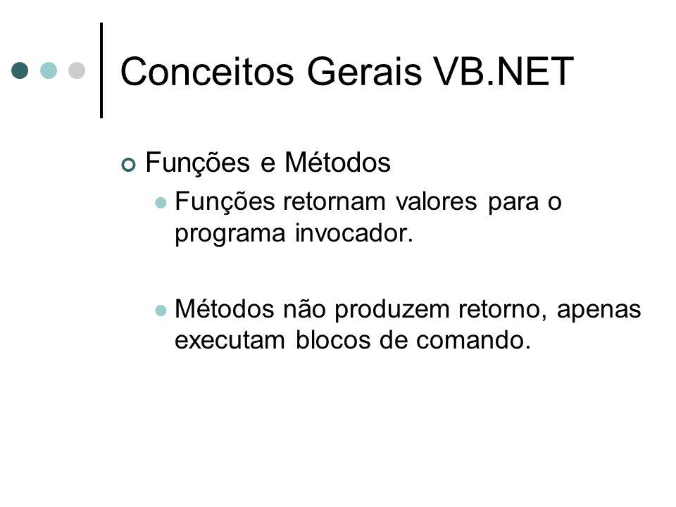 Conceitos Gerais VB.NET Funções e Métodos Funções retornam valores para o programa invocador.