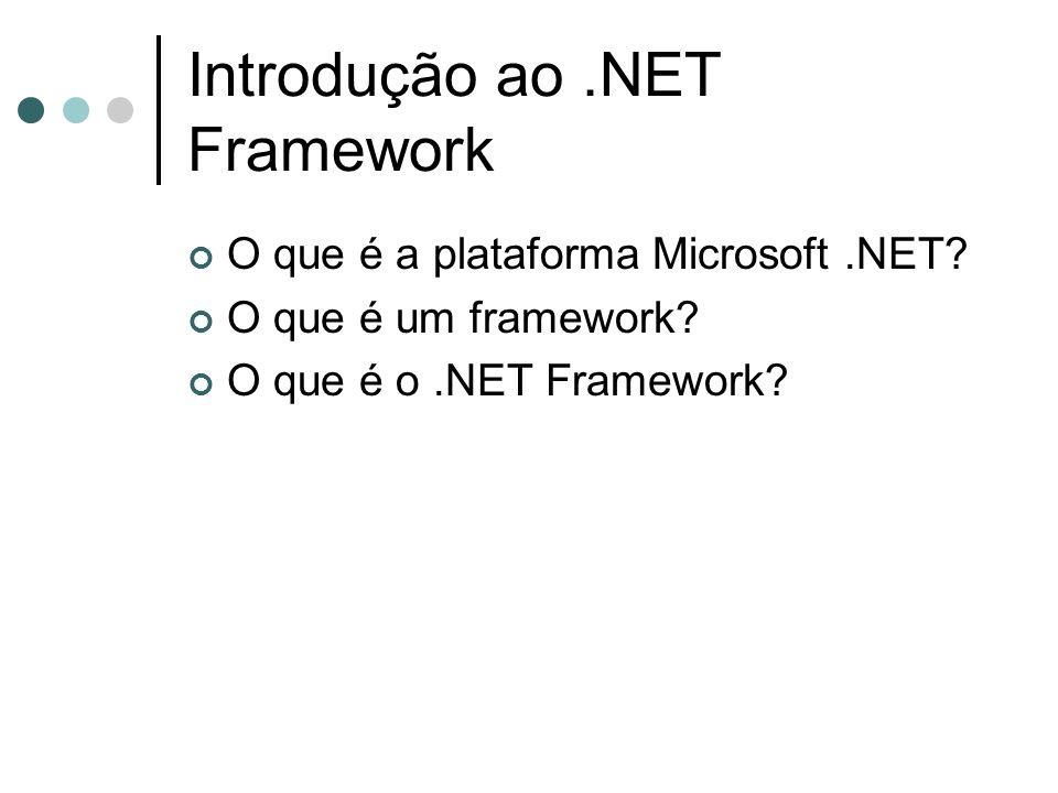 Introdução ao.NET Framework O que é a plataforma Microsoft.NET.