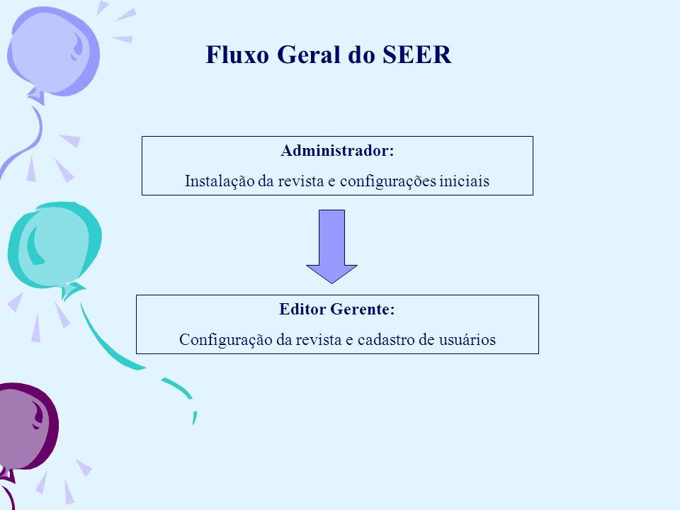 Fluxo Geral do SEER Administrador: Instalação da revista e configurações iniciais Editor Gerente: Configuração da revista e cadastro de usuários