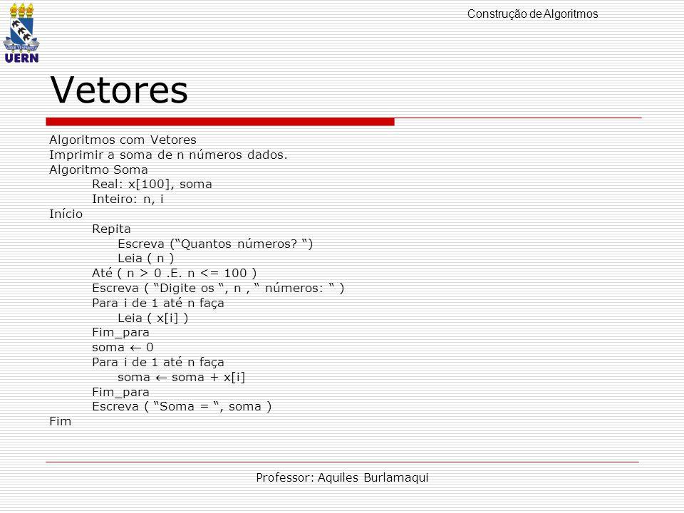 Construção de Algoritmos Professor: Aquiles Burlamaqui Vetores Algoritmos com Vetores Imprimir a soma de n números dados.