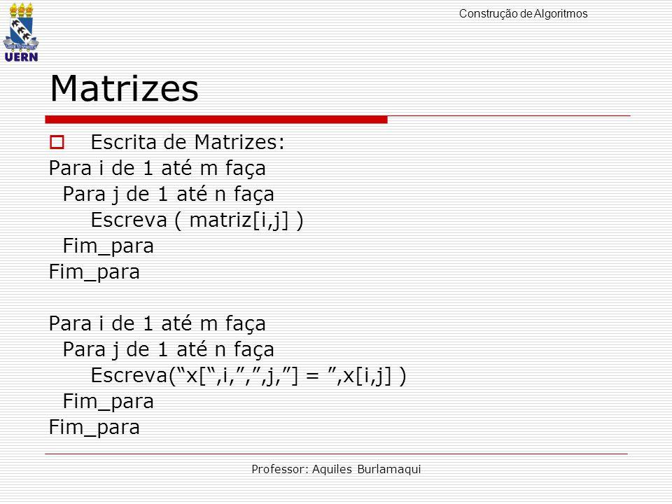 Construção de Algoritmos Professor: Aquiles Burlamaqui Matrizes Escrita de Matrizes: Para i de 1 até m faça Para j de 1 até n faça Escreva ( matriz[i,j] ) Fim_para Para i de 1 até m faça Para j de 1 até n faça Escreva(x[,i,,,j,] =,x[i,j] ) Fim_para