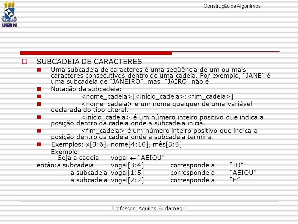 Construção de Algoritmos Professor: Aquiles Burlamaqui SUBCADEIA DE CARACTERES Uma subcadeia de caracteres é uma seqüência de um ou mais caracteres consecutivos dentro de uma cadeia.