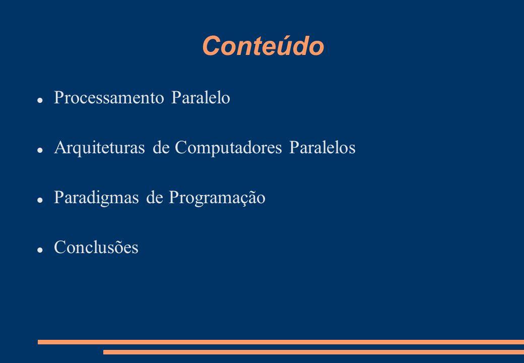 Conteúdo Processamento Paralelo Arquiteturas de Computadores Paralelos Paradigmas de Programação Conclusões
