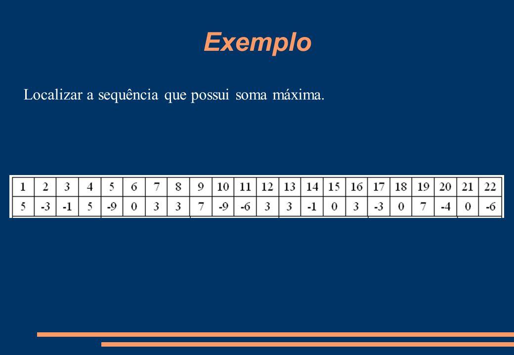 Exemplo Localizar a sequência que possui soma máxima.