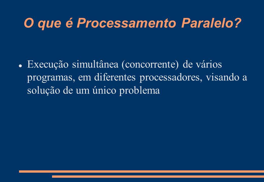 Decomposição de Dados Os dados do problema são particionados entre os diferentes processadores Cada processador executa basicamente o mesmo código, só que sobre dados diferentes