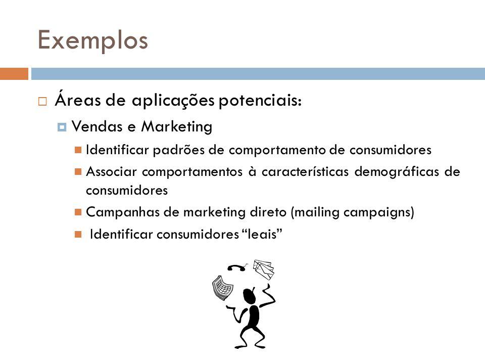 Exemplos Áreas de aplicações potenciais: Vendas e Marketing Identificar padrões de comportamento de consumidores Associar comportamentos à características demográficas de consumidores Campanhas de marketing direto (mailing campaigns) Identificar consumidores leais