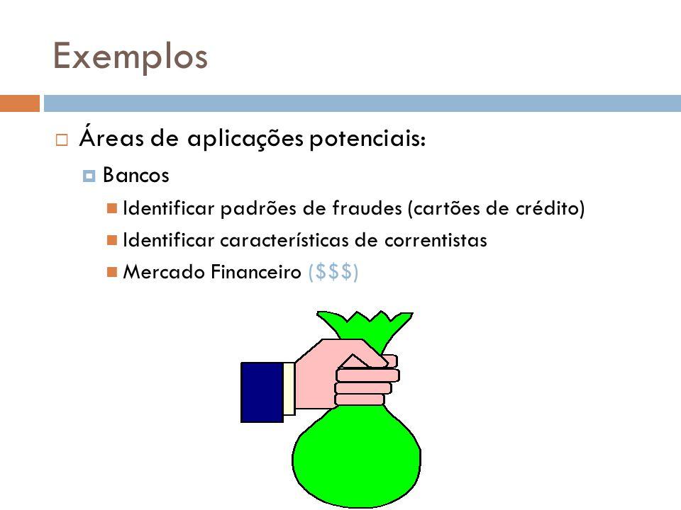 Exemplos Áreas de aplicações potenciais: Bancos Identificar padrões de fraudes (cartões de crédito) Identificar características de correntistas Mercado Financeiro ($$$)