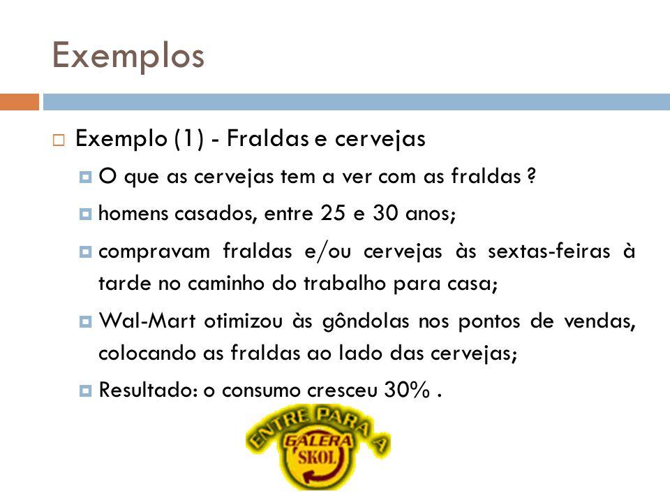 Exemplos Exemplo (1) - Fraldas e cervejas O que as cervejas tem a ver com as fraldas .