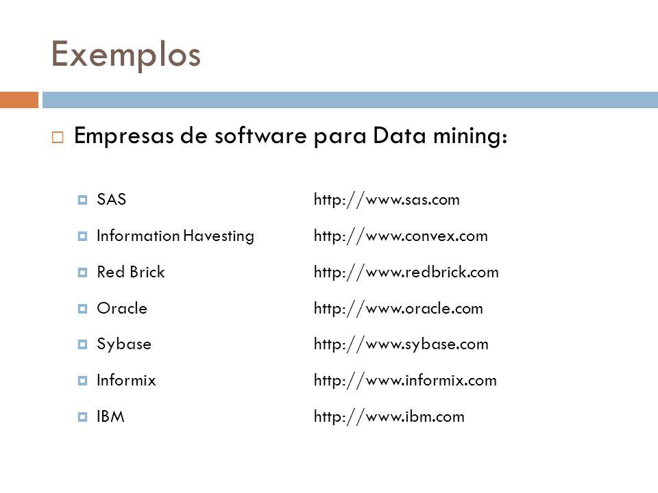 Exemplos Empresas de software para Data mining: SAShttp://www.sas.com Information Havestinghttp://www.convex.com Red Brickhttp://www.redbrick.com Oraclehttp://www.oracle.com Sybasehttp://www.sybase.com Informixhttp://www.informix.com IBMhttp://www.ibm.com