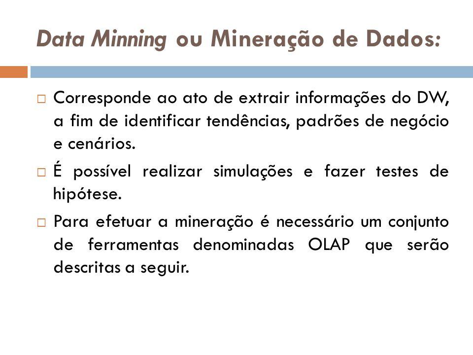 Data Minning ou Mineração de Dados: Corresponde ao ato de extrair informações do DW, a fim de identificar tendências, padrões de negócio e cenários.