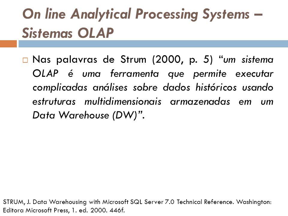 On line Analytical Processing Systems – Sistemas OLAP Nas palavras de Strum (2000, p.