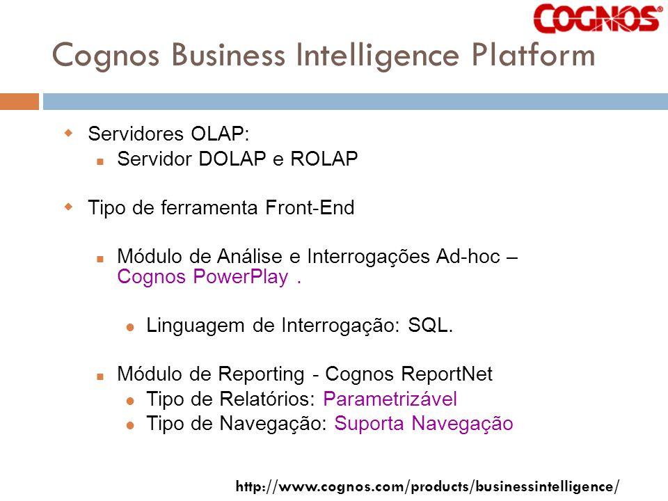 Cognos Business Intelligence Platform Servidores OLAP: Servidor DOLAP e ROLAP Tipo de ferramenta Front-End Módulo de Análise e Interrogações Ad-hoc – Cognos PowerPlay.