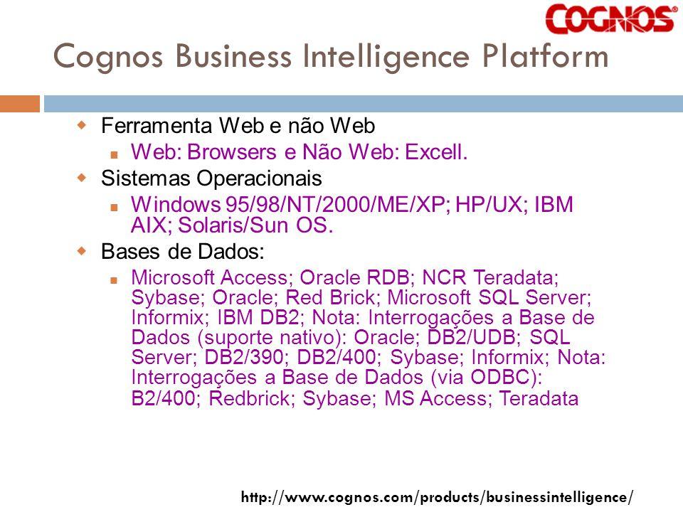 Cognos Business Intelligence Platform Ferramenta Web e não Web Web: Browsers e Não Web: Excell.