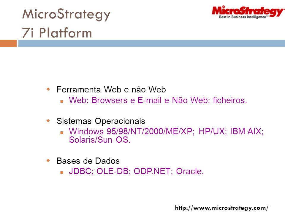 MicroStrategy 7i Platform Ferramenta Web e não Web Web: Browsers e E-mail e Não Web: ficheiros.