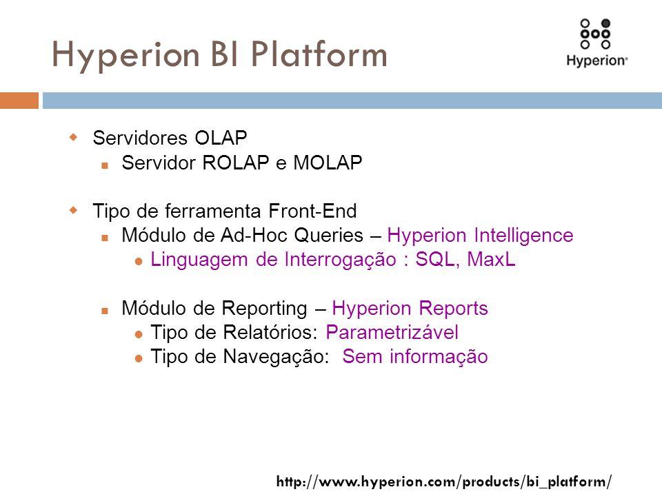 Hyperion BI Platform Servidores OLAP Servidor ROLAP e MOLAP Tipo de ferramenta Front-End Módulo de Ad-Hoc Queries – Hyperion Intelligence Linguagem de Interrogação : SQL, MaxL Módulo de Reporting – Hyperion Reports Tipo de Relatórios: Parametrizável Tipo de Navegação: Sem informação http://www.hyperion.com/products/bi_platform/