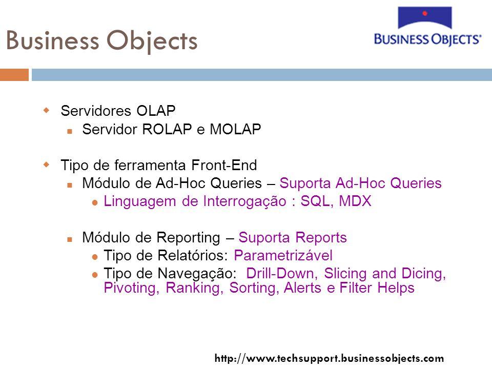 Business Objects Servidores OLAP Servidor ROLAP e MOLAP Tipo de ferramenta Front-End Módulo de Ad-Hoc Queries – Suporta Ad-Hoc Queries Linguagem de Interrogação : SQL, MDX Módulo de Reporting – Suporta Reports Tipo de Relatórios: Parametrizável Tipo de Navegação: Drill-Down, Slicing and Dicing, Pivoting, Ranking, Sorting, Alerts e Filter Helps http://www.techsupport.businessobjects.com