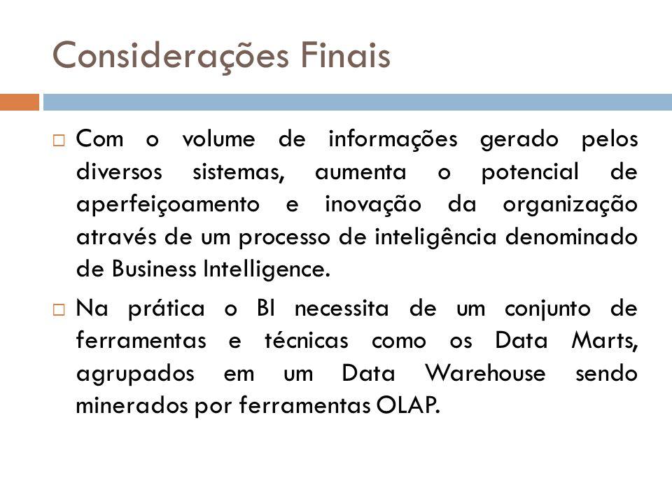 Considerações Finais Com o volume de informações gerado pelos diversos sistemas, aumenta o potencial de aperfeiçoamento e inovação da organização através de um processo de inteligência denominado de Business Intelligence.