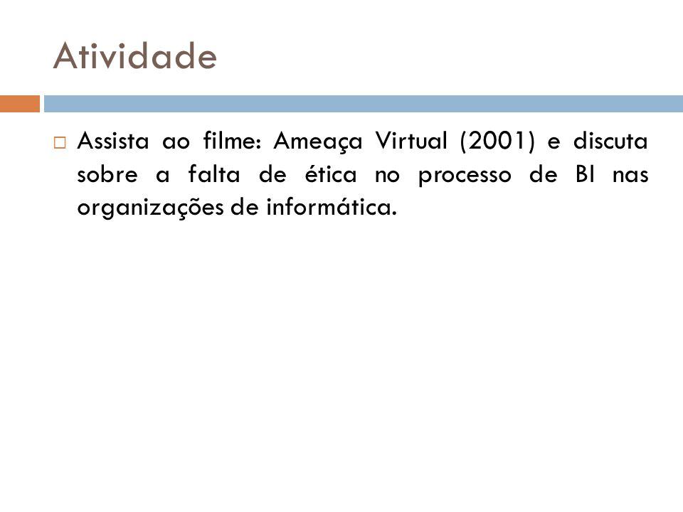 Atividade Assista ao filme: Ameaça Virtual (2001) e discuta sobre a falta de ética no processo de BI nas organizações de informática.