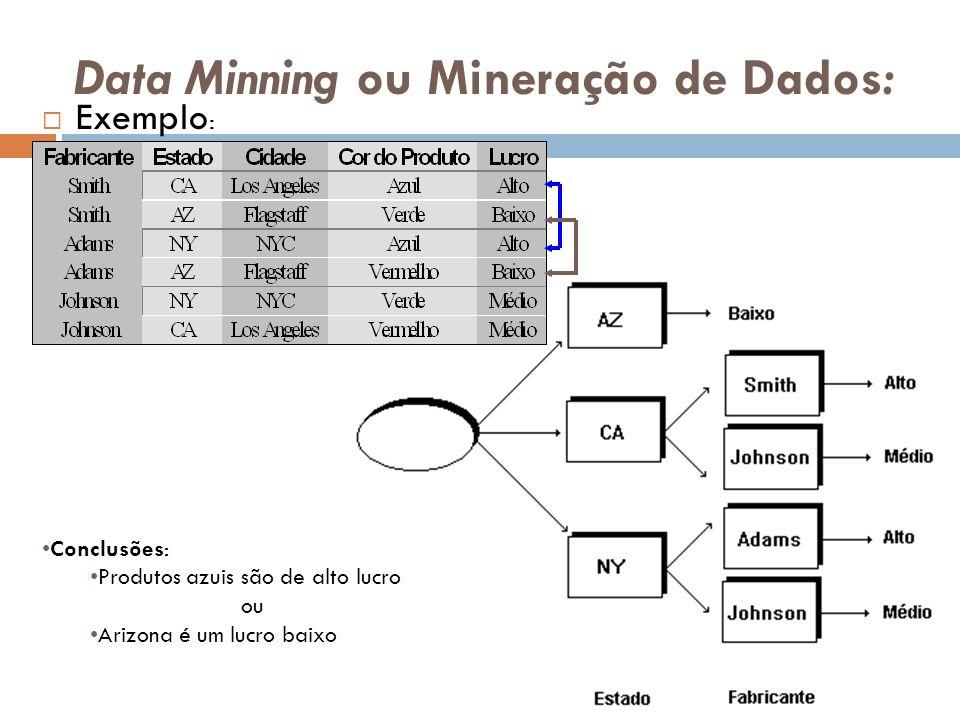 Data Minning ou Mineração de Dados: Exemplo : Conclusões: Produtos azuis são de alto lucro ou Arizona é um lucro baixo