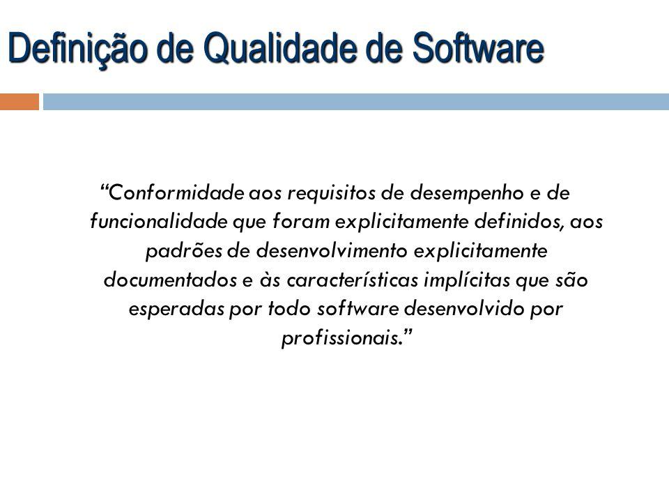 Definição de Qualidade de Software Conformidade aos requisitos de desempenho e de funcionalidade que foram explicitamente definidos, aos padrões de de