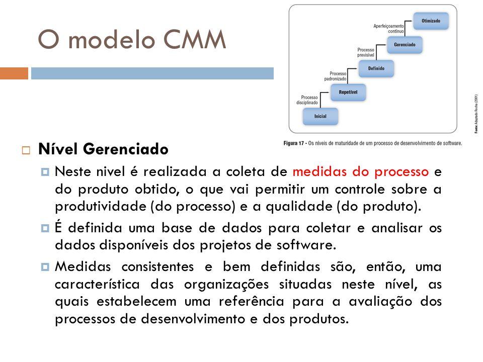 O modelo CMM Nível Gerenciado Neste nivel é realizada a coleta de medidas do processo e do produto obtido, o que vai permitir um controle sobre a prod