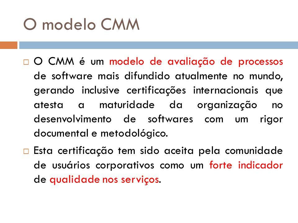 O modelo CMM O CMM é um modelo de avaliação de processos de software mais difundido atualmente no mundo, gerando inclusive certificações internacionai