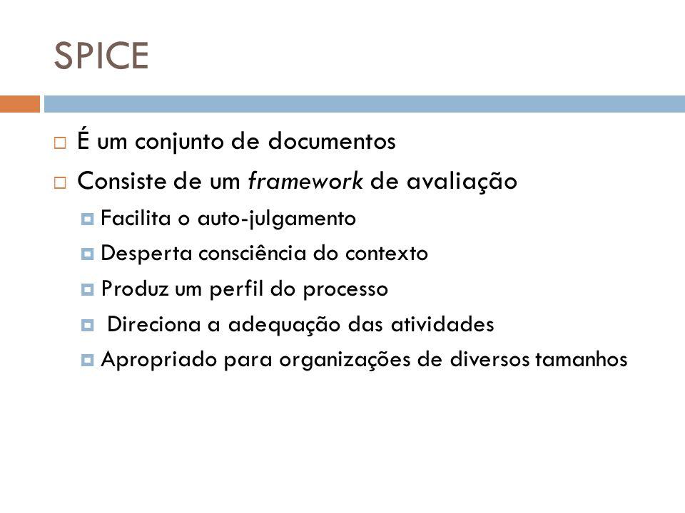 SPICE É um conjunto de documentos Consiste de um framework de avaliação Facilita o auto-julgamento Desperta consciência do contexto Produz um perfil d