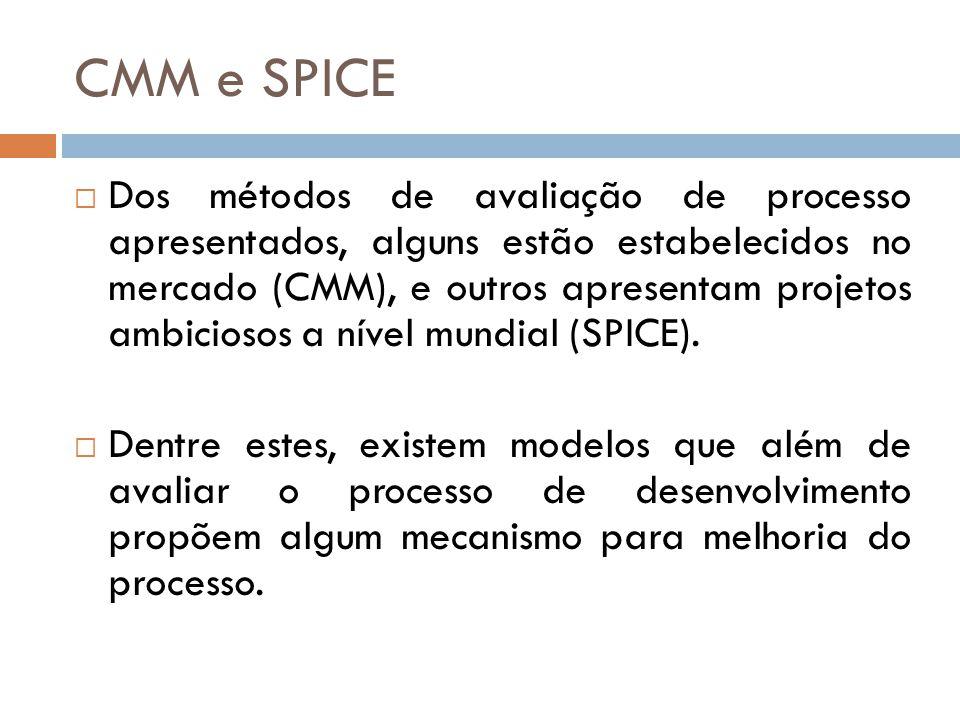 CMM e SPICE Dos métodos de avaliação de processo apresentados, alguns estão estabelecidos no mercado (CMM), e outros apresentam projetos ambiciosos a