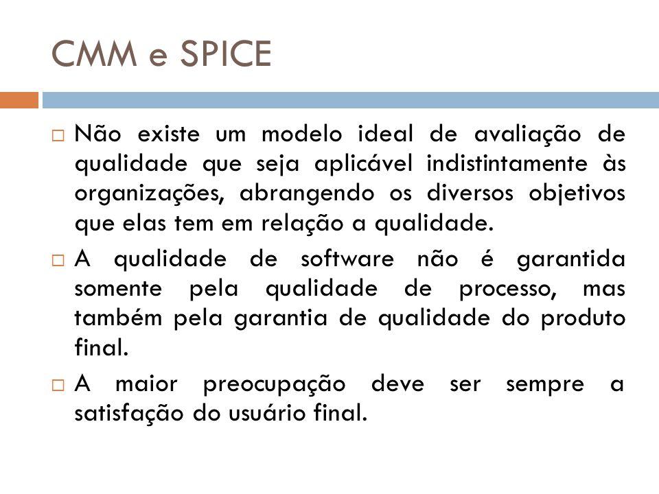 CMM e SPICE Não existe um modelo ideal de avaliação de qualidade que seja aplicável indistintamente às organizações, abrangendo os diversos objetivos