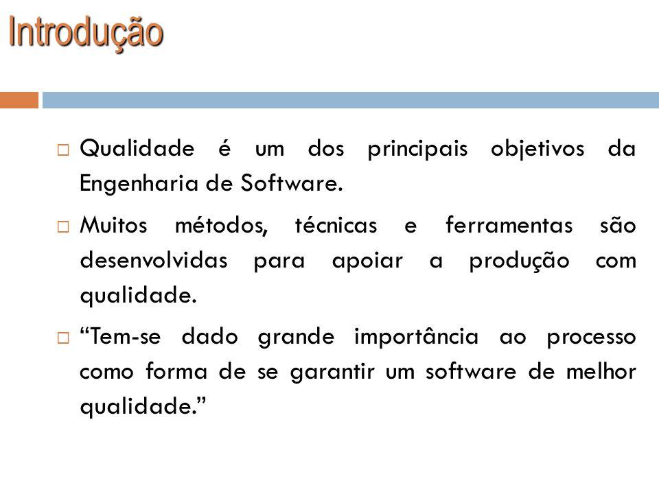 Introdução Qualidade Qualidade é um dos principais objetivos da Engenharia de Software. Muitos métodos, técnicas e ferramentas são desenvolvidas para