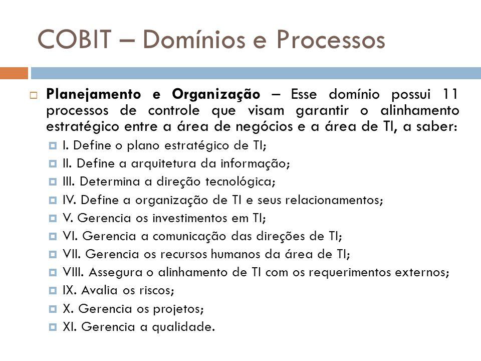 COBIT – Domínios e Processos Planejamento e Organização – Esse domínio possui 11 processos de controle que visam garantir o alinhamento estratégico entre a área de negócios e a área de TI, a saber: I.