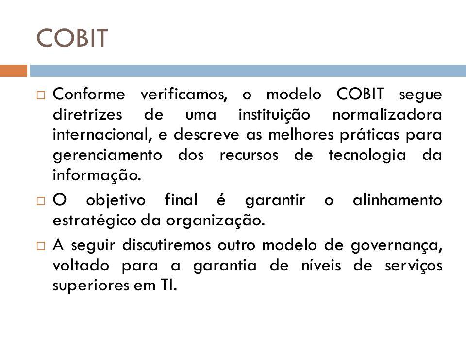 COBIT Conforme verificamos, o modelo COBIT segue diretrizes de uma instituição normalizadora internacional, e descreve as melhores práticas para gerenciamento dos recursos de tecnologia da informação.