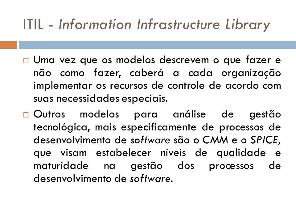 ITIL - Information Infrastructure Library Uma vez que os modelos descrevem o que fazer e não como fazer, caberá a cada organização implementar os recursos de controle de acordo com suas necessidades especiais.