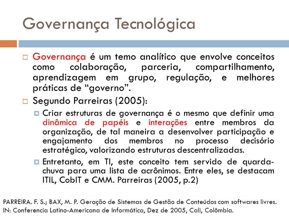 Governança Tecnológica Governança é um temo analítico que envolve conceitos como colaboração, parceria, compartilhamento, aprendizagem em grupo, regulação, e melhores práticas de governo.