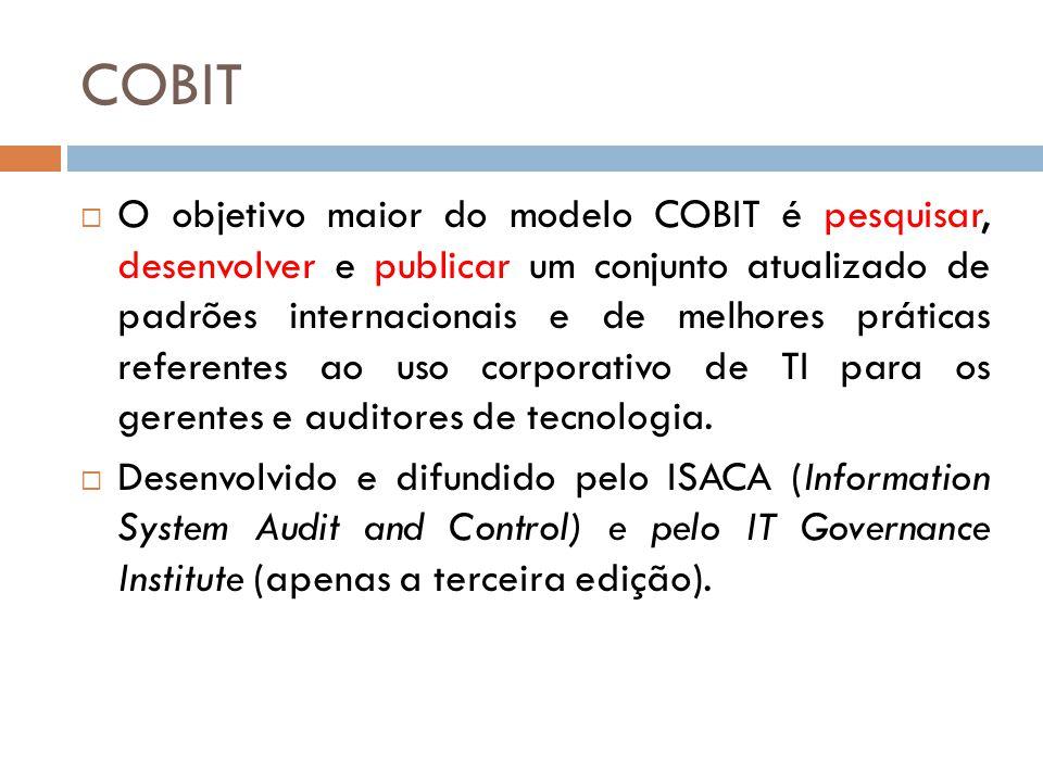 COBIT Na visão de Autor (ano) O COBIT estabelece métodos formalizados para orientar as decisões tecnológicas das organizações, envolvendo qualidade, maturidade, planejamento e segurança.