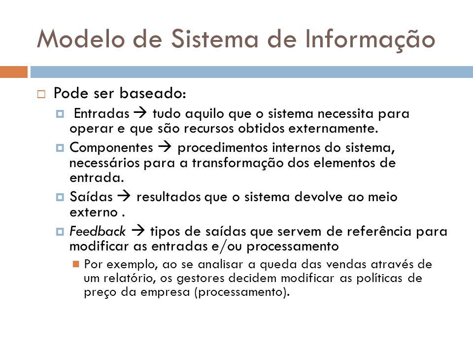 Sistemas de Informação É um tipo especializado de Sistema, formado por um conjunto de componentes, inter- relacionados, que visam coletar dados e informações, manipulá-los e processá-los para finalmente dar saída à novos dados e informações.