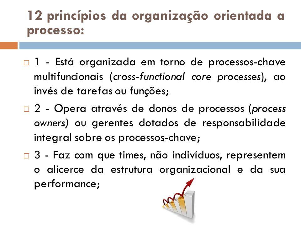 1 - Está organizada em torno de processos-chave multifuncionais (cross-functional core processes), ao invés de tarefas ou funções; 2 - Opera através d