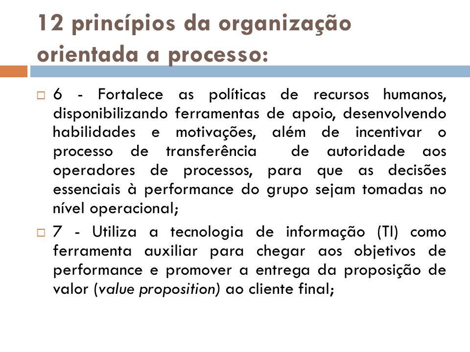 12 princípios da organização orientada a processo: 6 - Fortalece as políticas de recursos humanos, disponibilizando ferramentas de apoio, desenvolvend