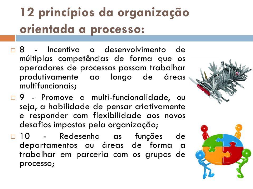 12 princípios da organização orientada a processo: 8 - Incentiva o desenvolvimento de múltiplas competências de forma que os operadores de processos p