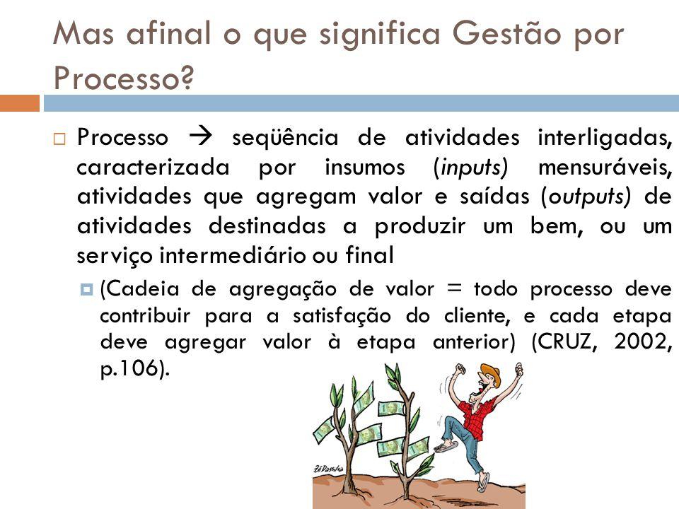 Processo seqüência de atividades interligadas, caracterizada por insumos (inputs) mensuráveis, atividades que agregam valor e saídas (outputs) de ativ