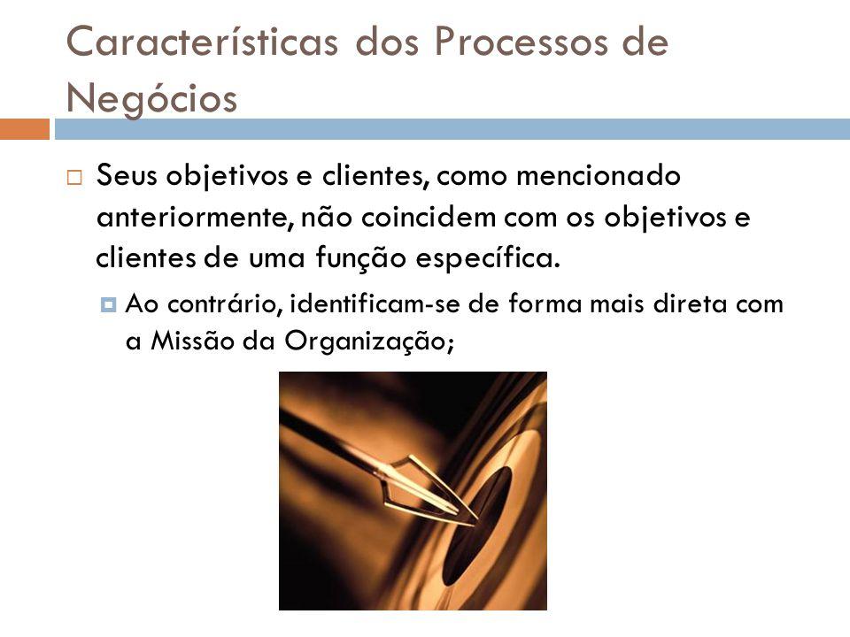 Características dos Processos de Negócios Seus objetivos e clientes, como mencionado anteriormente, não coincidem com os objetivos e clientes de uma f