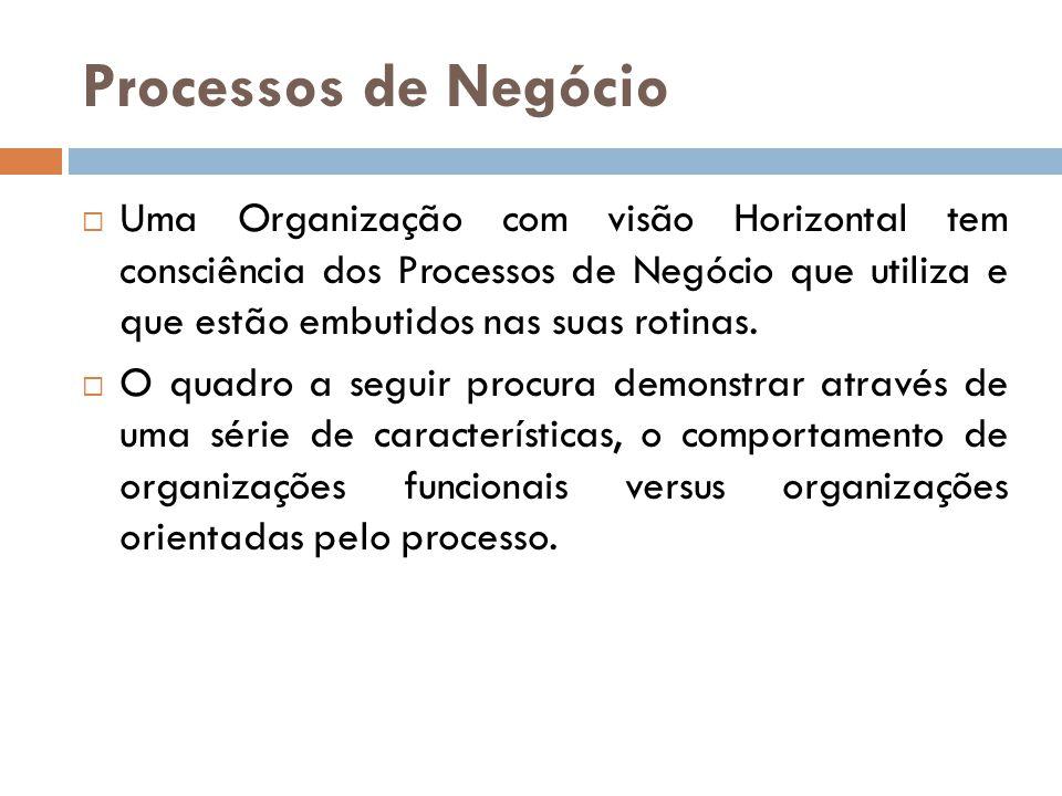 Processos de Negócio Uma Organização com visão Horizontal tem consciência dos Processos de Negócio que utiliza e que estão embutidos nas suas rotinas.