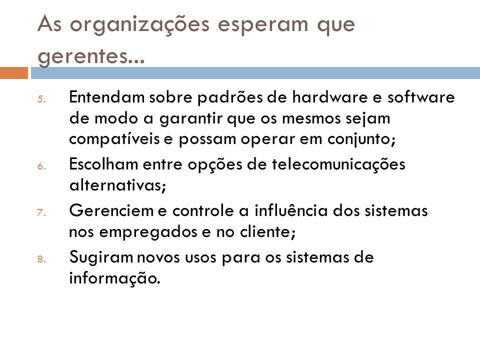 As organizações esperam que gerentes... 5. Entendam sobre padrões de hardware e software de modo a garantir que os mesmos sejam compatíveis e possam o