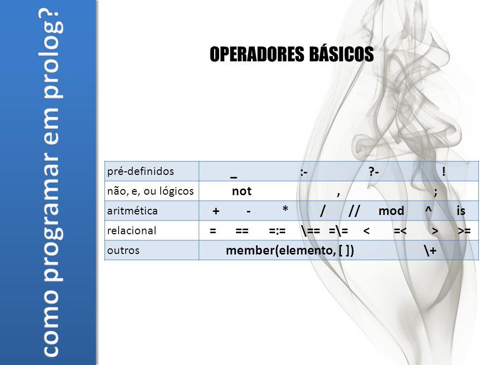 OPERADORES BÁSICOS pré-definidos _:- -.