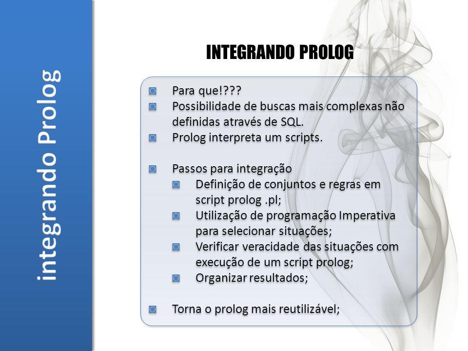 INTEGRANDO PROLOG Para que!??. Possibilidade de buscas mais complexas não definidas através de SQL.
