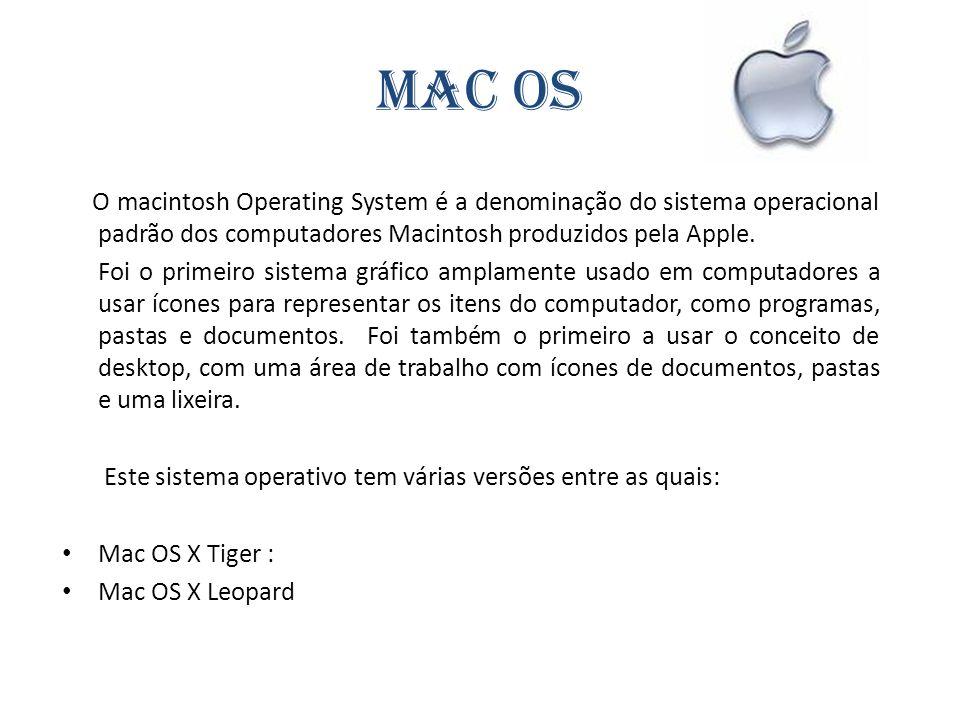 Mac OS O macintosh Operating System é a denominação do sistema operacional padrão dos computadores Macintosh produzidos pela Apple. Foi o primeiro sis